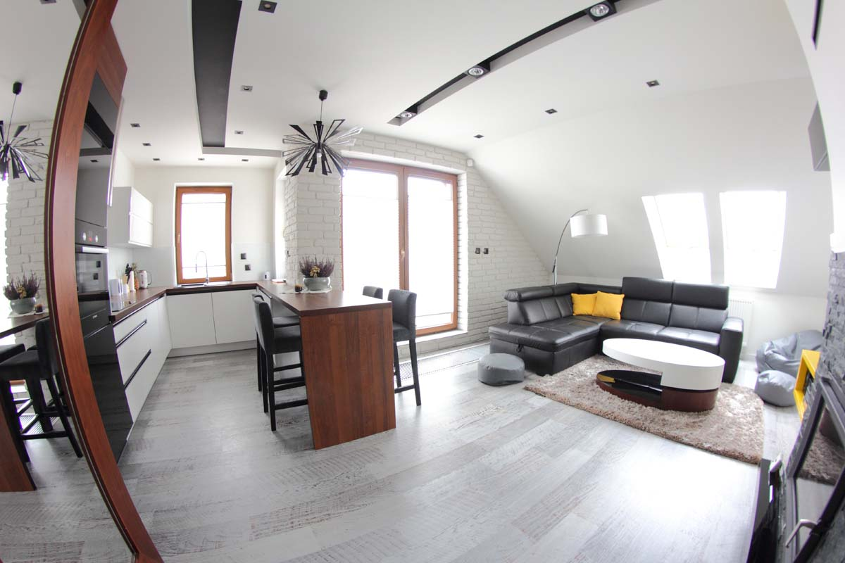 Salon w apartamencie Lake Resident