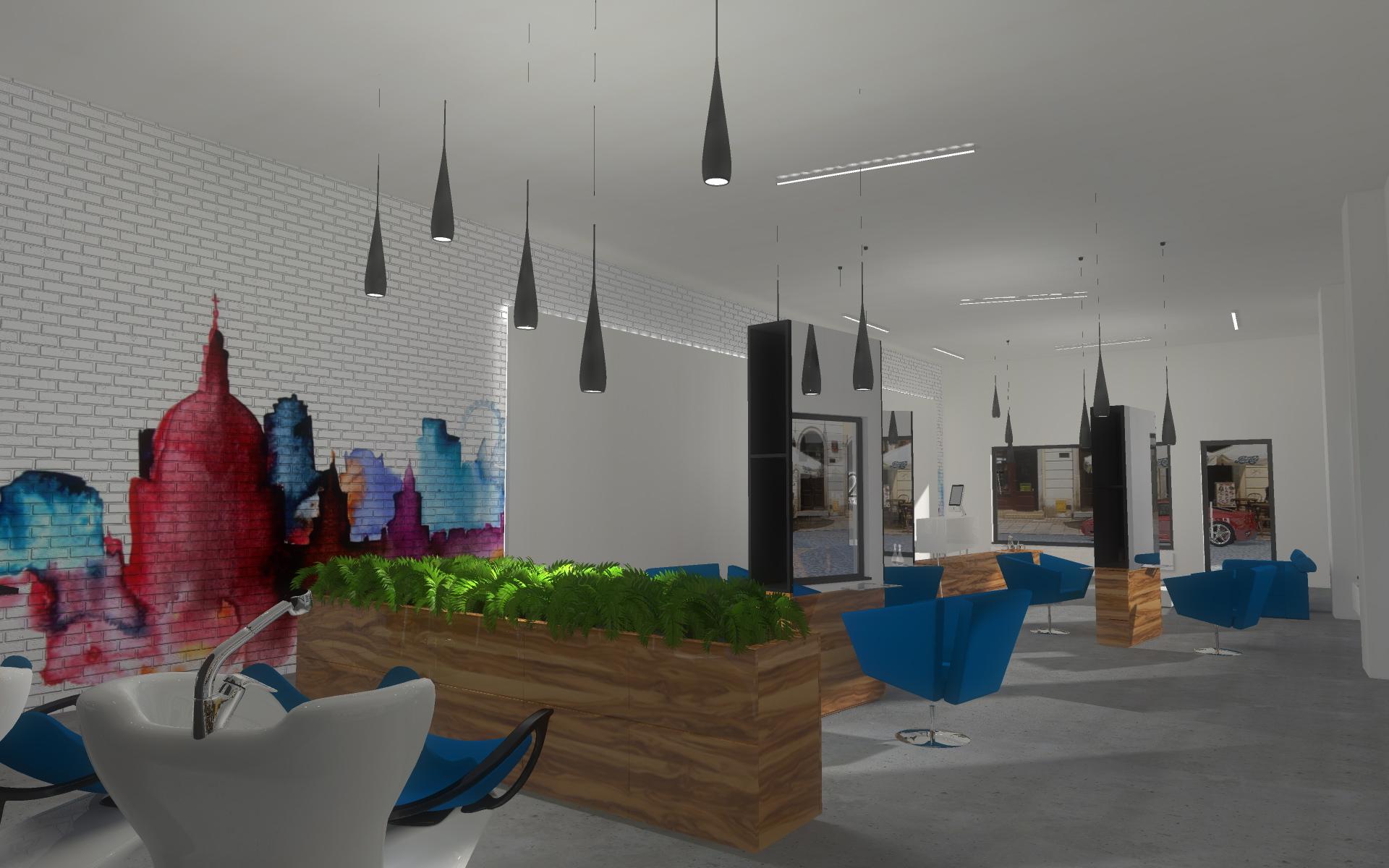 Projekt wnętrza luksusowego salonu fryzjerskiego - Bydgoszcz.