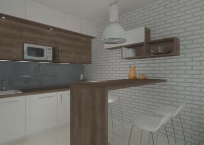 Projekt wnętrza kuchni zaprojektowanej w kolorach bieli i brązu przez Mobiliani Design w Bydgoszczy.