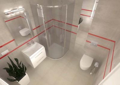 Widok na łazienkę z góry prezentujący zaprojektowane wnętrze z nowoczesnym przejściem do toalety zaaranżowane przez Mobiliani Design w Bydgoszczy.