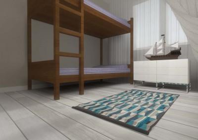 Piętrowe łóżko w zaprojektowanym wnętrzu pokoju dziecięcego zaaranżowanego przez Mobiliani Design w Bydgoszczy.