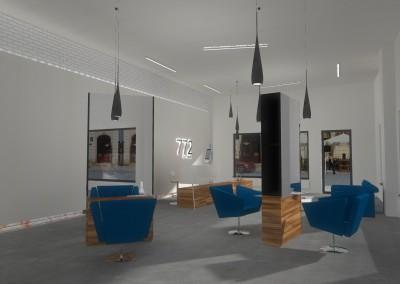 Aranżacja wnętrza części usługowej projektu wnętrza salonu w Bydgoszczy.