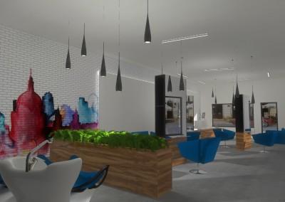 Salon z designerskim oświetleniem dopasowanym do potrzeb wnętrza.