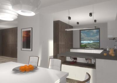 Projekt wnętrza bazuje na jasnej stylistyce z dodatkiem naturalnych elementów
