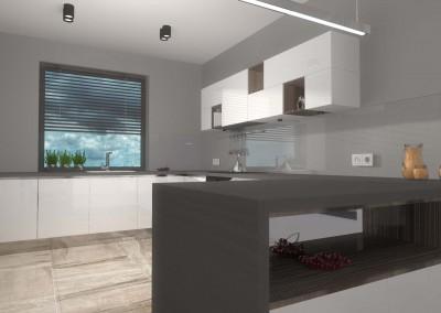 Wizualizacja wnętrza kuchni z nowoczesnymi meblami kuchennymi