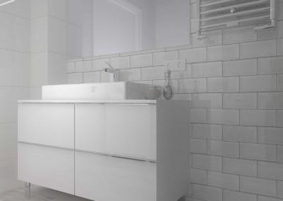Ściana z umywalką oraz szafką  łazienkową.