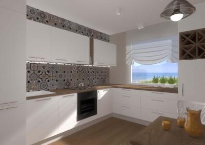 Szaki kuchenne z białymi frontami - nowoczesny projekt wnętrza.