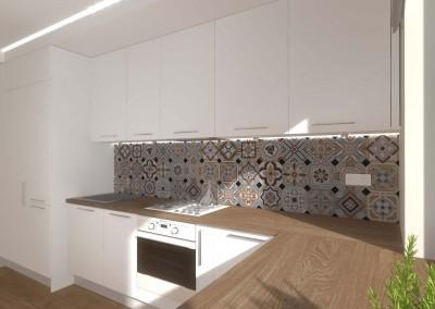 Ściana kuchni z ciekawymi płytkami w zestawieniu z białymi meblami.