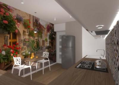 Ściana ze stołem oraz fototapetą - część jadalniana projektu.