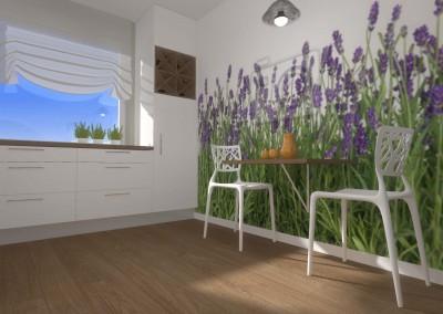 Wariacja projektu z fototapetą ilustrującą ścianę z kwiatami.