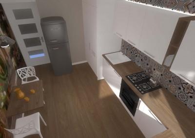 Rzut z góry na kuchnię przygotowaną przez projektantów z Bydgoszczy.