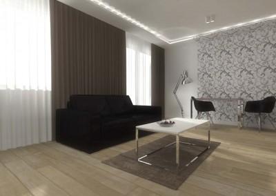 Część salonowa, wypoczynkowa projektowa wnętrza.
