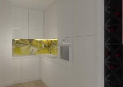 Zabudowa kuchni w projekcie wnętrza.