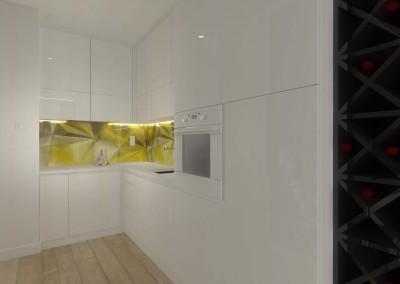 Biała kuchnia w projekcie zabudowy dla apartamentu w Bydgoszczy.
