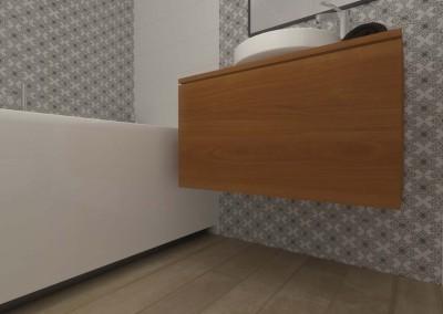 Zbliżenie na szafkę pod umywalkę w projekcie wnętrza.