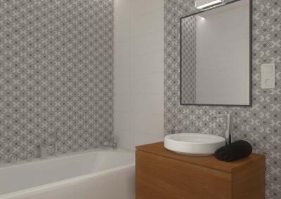 Ściana z lustrem w aranżacji przestrzeni niewielkiej łazienki.