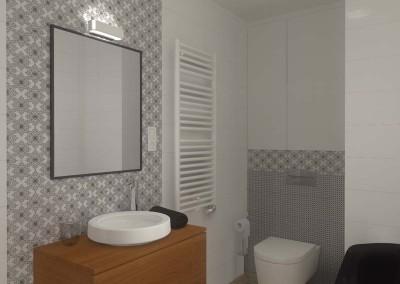 ściana łazienki z toaletą - profesjonalne projektowanie wnętrz.