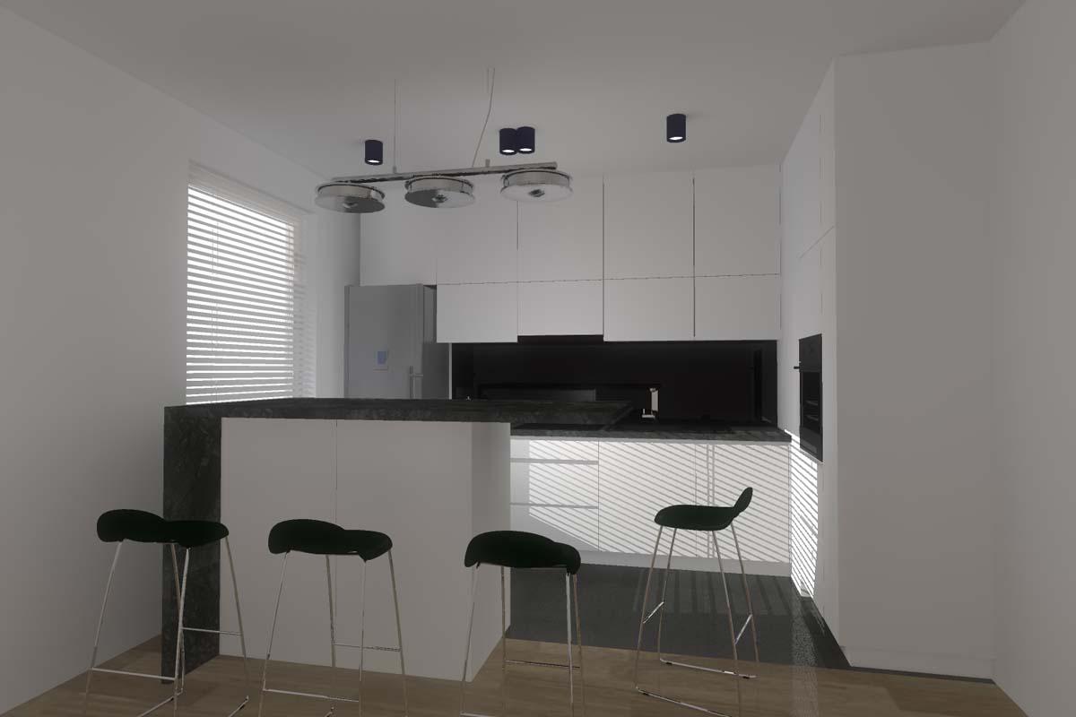 Projekt minimalistycznej kuchni z barem.