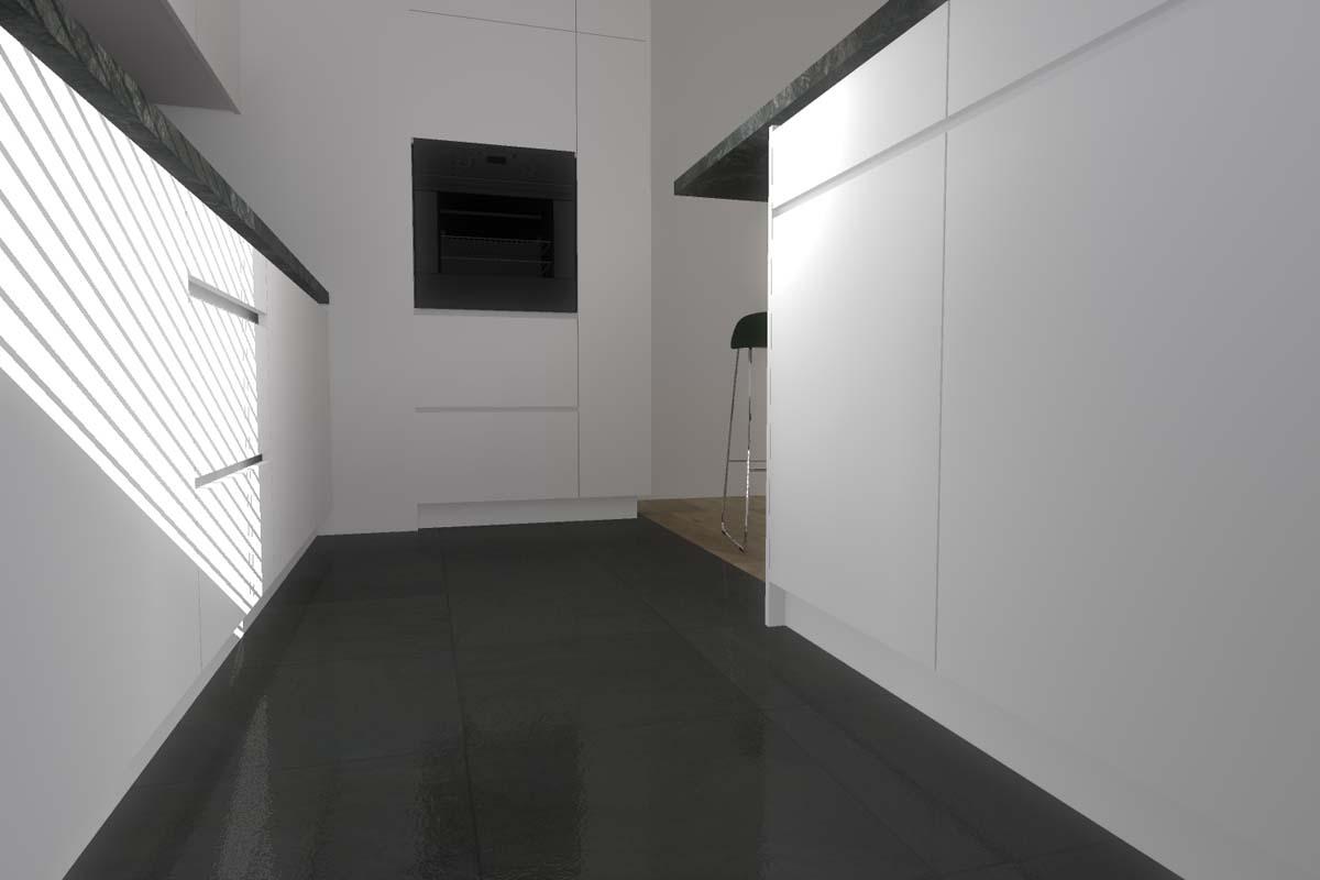 Przestrzeń między zabudową a barem w projekcie wnętrza kuchni.