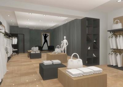 Wnętrze zaprojektowane z myślą o ekspozycji towarów w butiku.