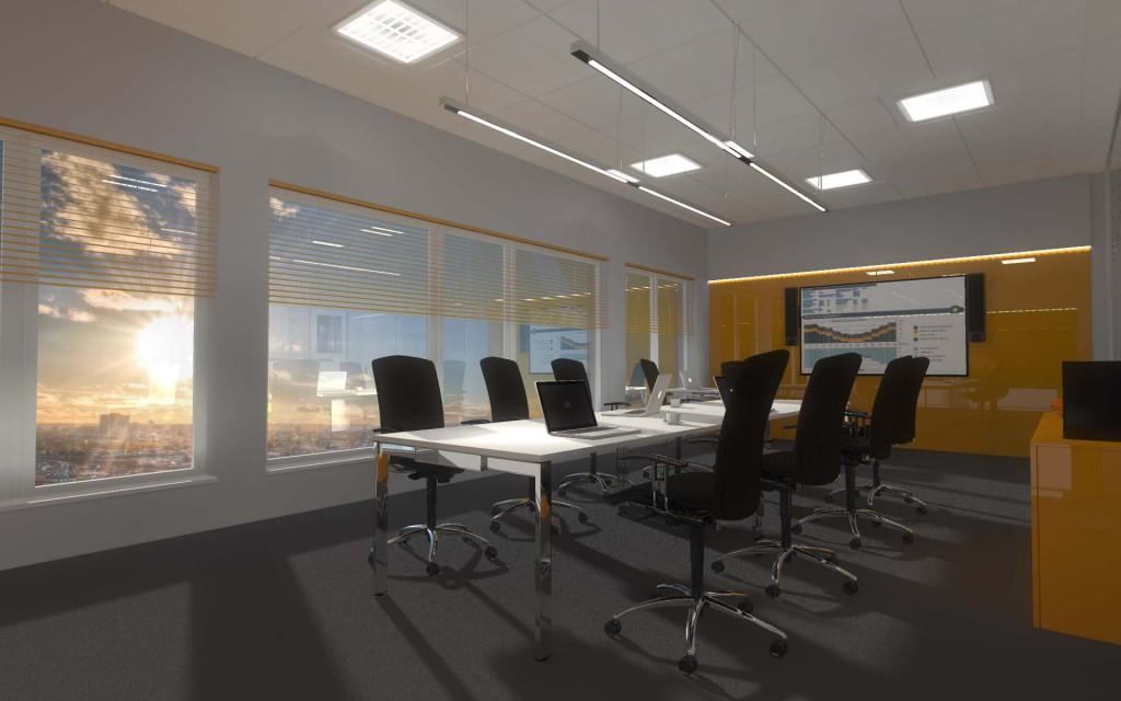 Projekt wnętrza minimalistycznego biura