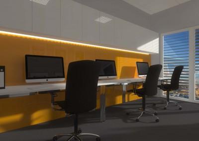 Stanowiska komputerowe w projekcie wnętrza biura.