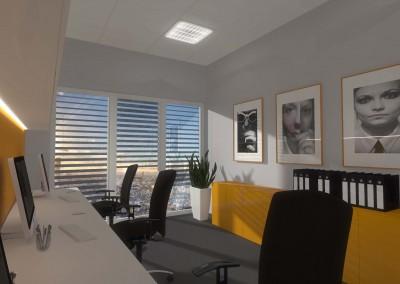 Przestrzeń z biurkami dla pracowników biurowych firmy.