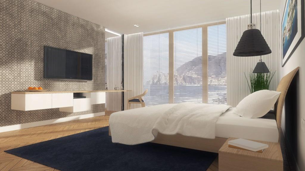 Słoneczna sypialnia w odcieniach bieli, beżu i jasnego brązu - projektowanie wnętrz Mobiliani Design, Bydgoszcz.