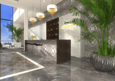 Recepcja hotelowa w projekcie wnętrza hotelu i spa od Mobiliani Design, Bydgoszcz.