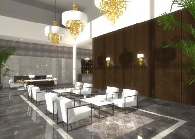 Poczekalnia oraz miejsce spotkań z kominkiem w projekcie wnętrza nowoczesnego hotelu ze strefą spa.