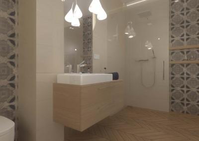 Ściana w beżowej łazience z umywalką.
