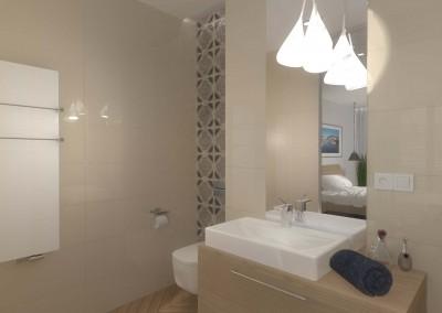Dekoracyjne oświetlenie oraz stylowe meble dla wnętrza łazienki w hotelu.