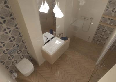 Stylowa łazienka w beżach od architektów z Mobiliani Design.
