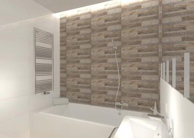 Aranżacja stylowej ściany w hotelowej toalecie z wanną.