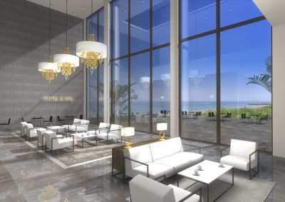 Projekt wnętrza z białymi sofami - strefa Klienta hotelu.