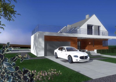 Projekt tego domu w Bydgoszczy uwzględnia duży i wygodny parking