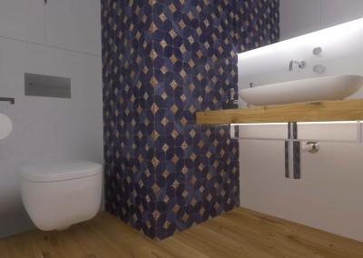 Ściana toalety z kontrastującym fioletem.