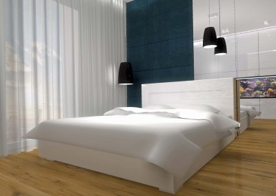 Projekt eleganckiej sypialni z wygodnym białym łóżkiem małżeńskim.