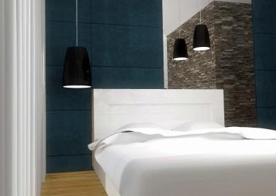 Designerskie oświetlenie w kontrastującej czerni dla wnętrza projektu sypialni.