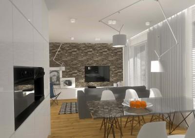 Wizualizacja projektu wnętrza - widok na salon z części kuchennej mieszkania.