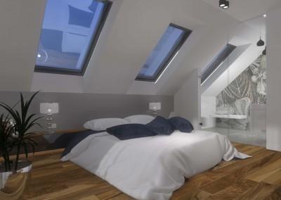 Sypialnia zlokalizowana jest w najwyższej części domu. We wnętrzu, do którego przylega również łazienka, znajdują się w sumie 3 okna dachowa przepuszczające światło.