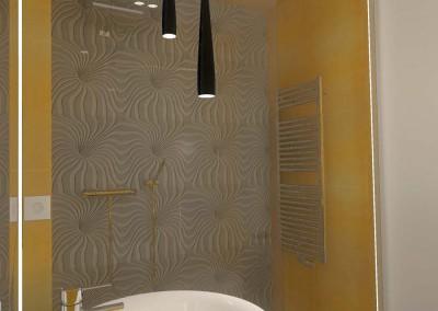 Oryginalne oświetlenie łazienki jako element dekoracji wnętrza.