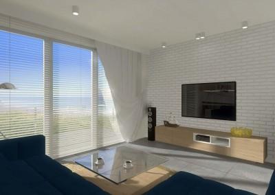 Projekt salonu z dużym oknem.