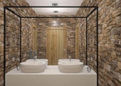 Ściana w toalecie z umywalkami - projekt Mobiliani Design.
