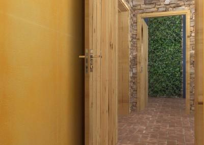 Projekt korytarza prowadzącego do toalet Gości.