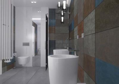 Projekt przestronnej, nowoczesnej łazienki.