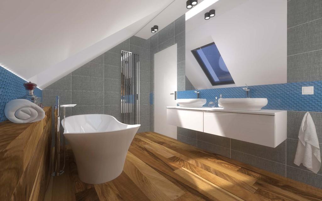 Wnętrze łazienki łączy biel, błękit i naturalne drewno