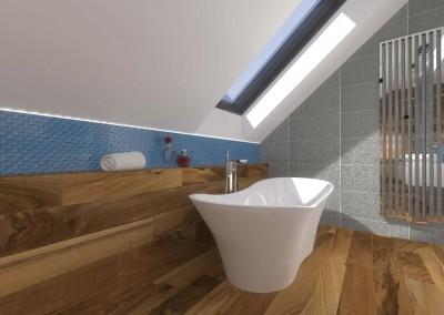 Łazienkę wyposażono w nowoczesną, wolno stojącą wannę