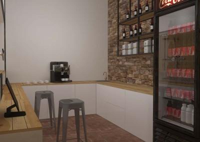 Część wnętrza zaprojektowana do przygotowywania kawy.