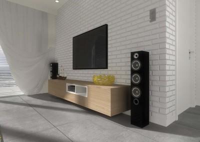 Ściana telewizyjna w projekcie salonu.